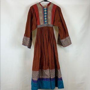 Vintage Long Patterned Handmade Prairie Dress